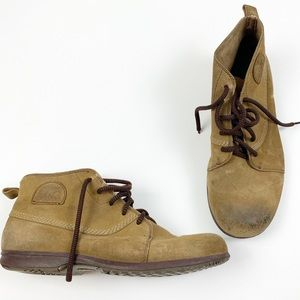 Sorel Tan Lace Up Low Leather Round Toe Boots